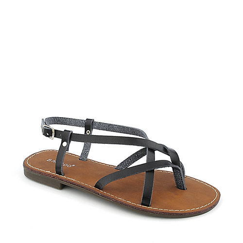 Bamboo Cable-03 womens flat thong strappy sandal