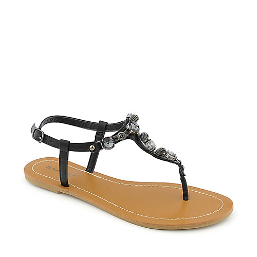 Bamboo Monster-02 womens flat thong T-strap jeweled sandal