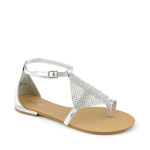 Bamboo Bloom-67 womens flat jeweled thong sandal
