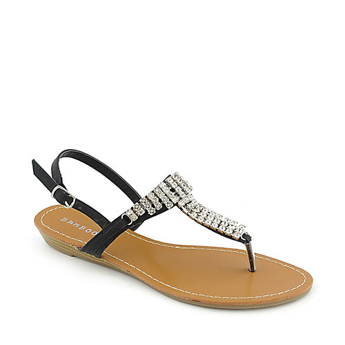 Bamboo Wonderful-01 womens low heel T-strap jeweled slingback thong sandal