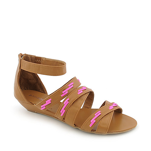 Bamboo Denisa-99 womens low wedge gladiator strappy sandal