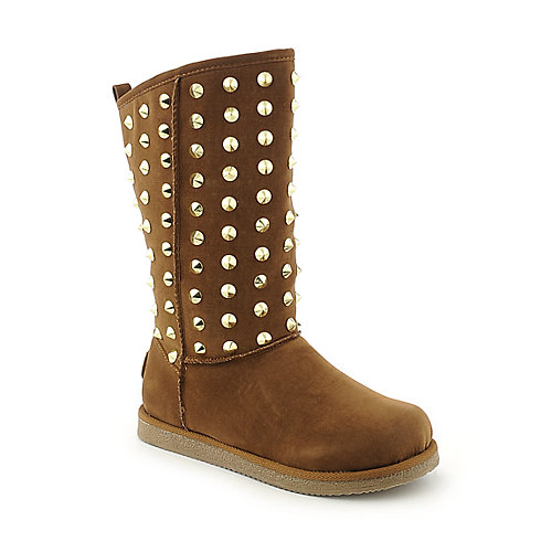 Shiekh Womens Urban Studs tan fur mid calf flat boot