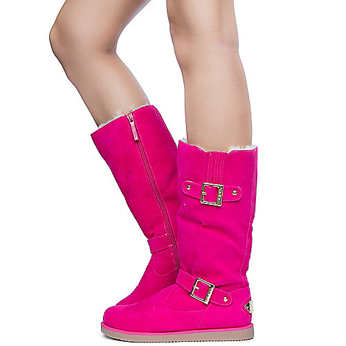 Shiekh Womens Urban Buckle pink fur flat mid calf boot