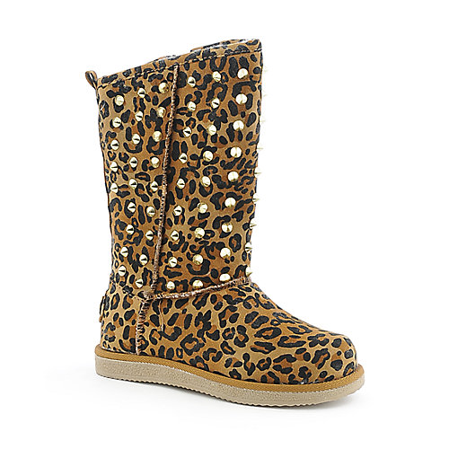Shiekh Kids Urban Studs leopard flat fur boot