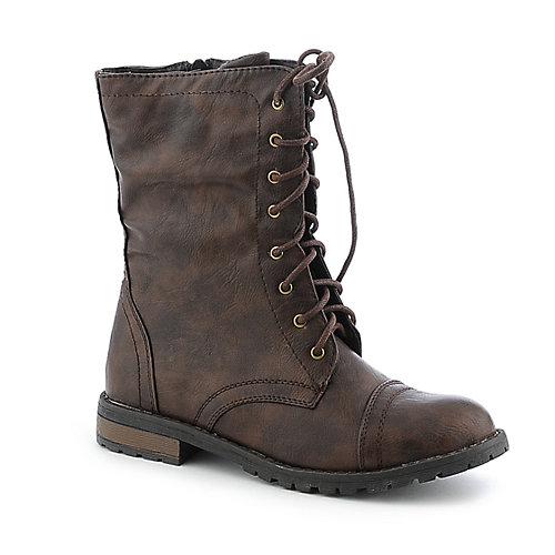 Shiekh Womens PK-04 Brown Mid Calf Combat Boots