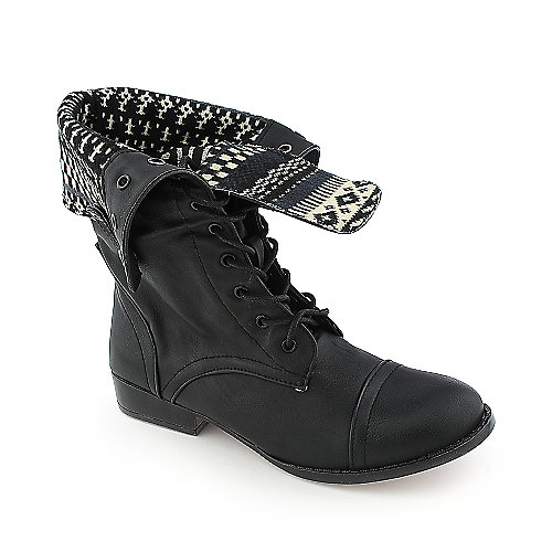 Shiekh Womens Saddy-4-S black fold over combat boot