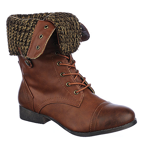 Shiekh Womens Saddy-4-S brown fold over combat boot