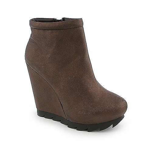 Heart Soul Cocoa womens wedge ankle platform boot