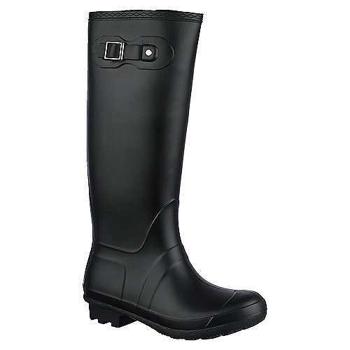 Bamboo Womens Padinton-01 black low heel rain boot
