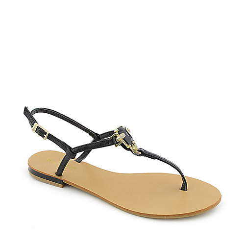 Bamboo Bloom-72 womens flat T-strap jeweled thong sandal