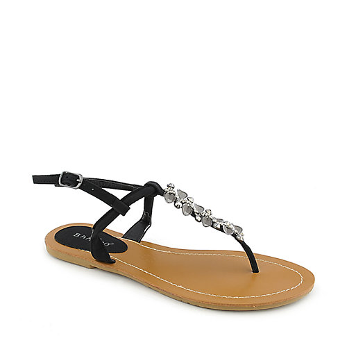 Bamboo Monster-03 womens flat T-strap jeweled thong sandal