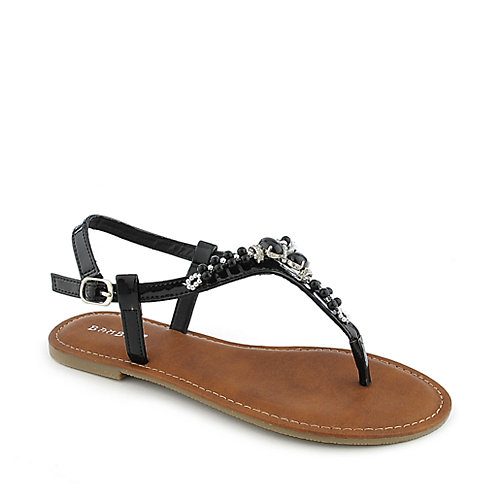 Bamboo Warner-03 womens flat T-strap jeweled thong sandal