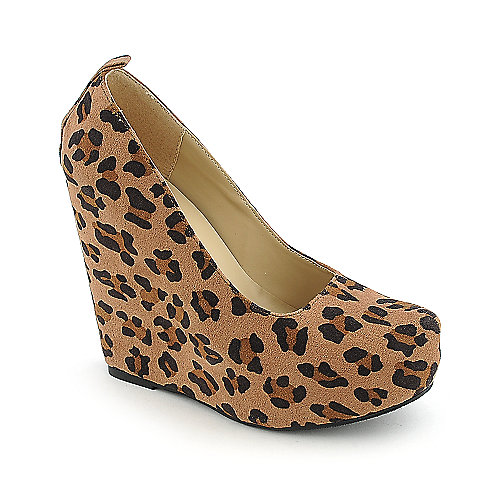 Soda Alfa-S womens animal print dress platform wedge