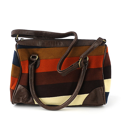 Elleven  K. Striped Knit Satchel multi color accessories handbag