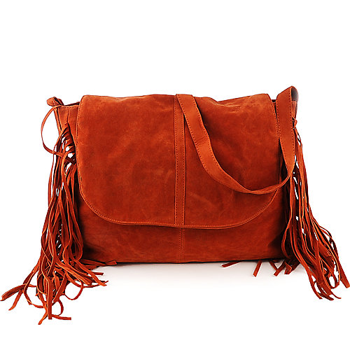 nuG Side Fringe Hobo orange shoulder cross body bag