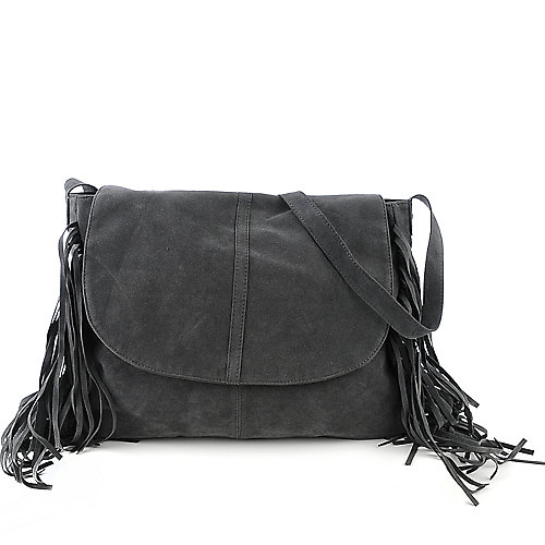 nuG Side Fringe Hobo grey shoulder cross body bag