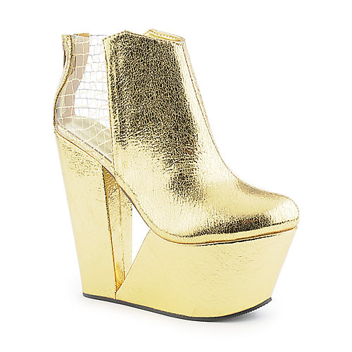 privileged baxton s gold wedge ankle boot shiekh shoes