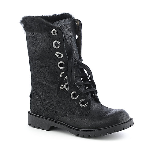 BearPaw Womens Kayla black mid-calf fur combat boot