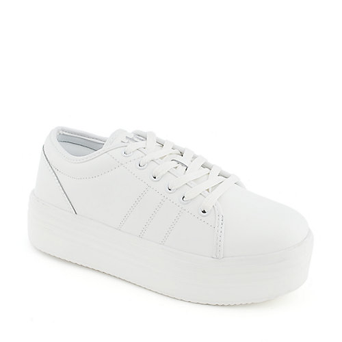 e5e06c0cdaf1f Cute to the Core Blyke Low Women s White Casual Platform Sneakers ...