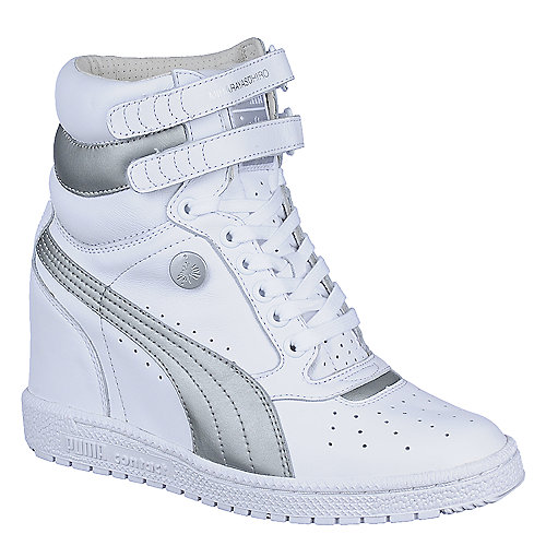 Puma Womens My-66 white casual lace up sneaker wedge