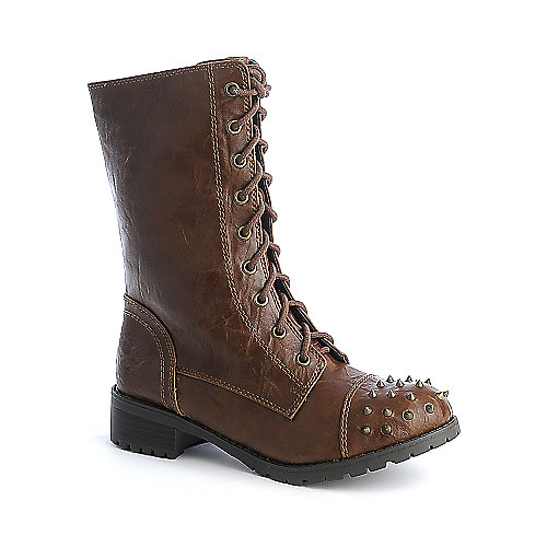 Soda Butter-S womens military mid calf low heel boot