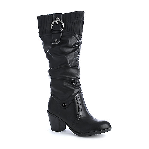 City Classified Sporty-S womens knit high heel knee high boots