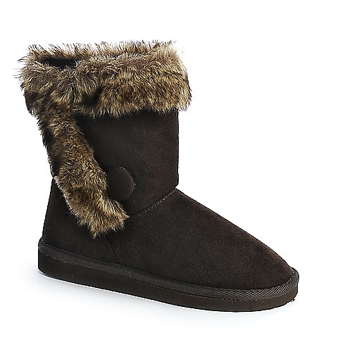 Soda Serve-S womens ankle fur flat boots