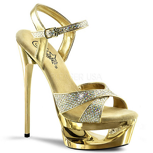 Eclipse-619G gold platform high heel dress shoe