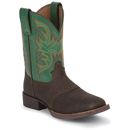 Justin Boots Stampede™ Brown Oiled Grubstake W/Perfed Saddle