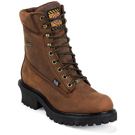 Justin Original Work Mahogany Harness Gore-Tex St/ Toe Logger