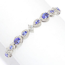 Gem Treasures® Choice of Length Tanzanite & White Zircon Tennis Bracelet