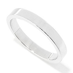 Sorrento Italian Silver Polished 3mm Cigar Band Ring, 2.7 grams