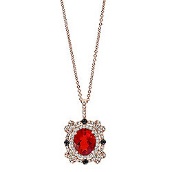 EFFY 14K Rose Gold 1.96ctw Fire Opal, White & Black Diamond Pendant w/ Cable Link Chain