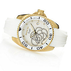 Invicta Women's Angel Quartz Crystal Accented Mother-of-Pearl Silicone Strap Watch - 653-257