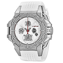 Snyper Men's 49mm One Swiss Made Automatic Diamond Accented White Dial Rubber Strap Watch - 655-400