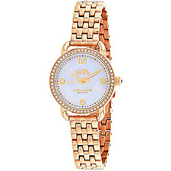 Coach Women's Delancey Quartz Crystal Accented Mother-of-Pearl Dial Rose-tone Bracelet Watch