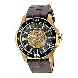Invicta 46mm Specialty Mechanical Skeletonized Dial Leather Strap Watch - 658-405