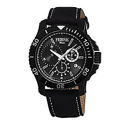 Ferre Milano Men's 44mm Swiss Quartz Chronograph Black Dial Black Leather Strap Watch
