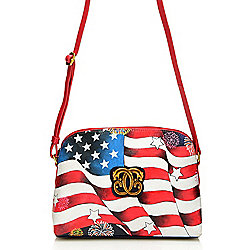 "Sharif ""I Love USA"" Hand-Painted Leather Zip Top Crossbody Bag"