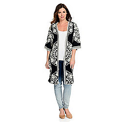 Indigo Thread Co.™ Woven 3/4 Kimono Sleeve Floral Embroidered Open Front Duster