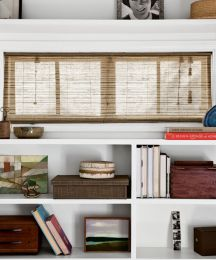 Natural woven waterfall shades custom bamboo blinds and for Smith and noble bamboo shades