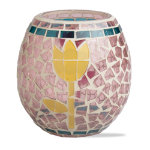 Spring Tulip Mosaic Glass Votive Holder