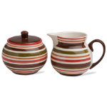 Sonoma Chocolate Stripe Sugar & Creamer Set