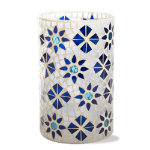 indigo mosaic glass hurricane