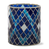 indigo mosaic glass votive candle holder