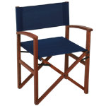 Campaign Chair-Dark Blue on Natural Frame