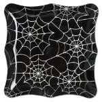 Halloween spiderweb glass platter