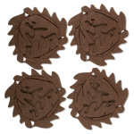 Autumn harvest felt leaf coaster set of 4