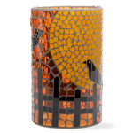 Halloween crow mosaic glass hurricane