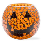 Halloween pumpkin mosaic glass hurricane